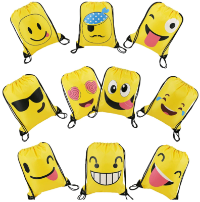 This is an image of girl's supplies bags drawstring with emoji faces