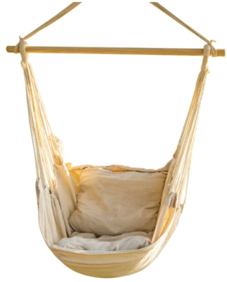 This is an image of girl's hanging rope hammock chair in white color