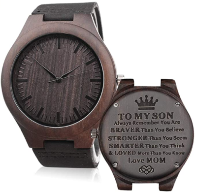 This is an image of boy's Wooden costum quartz in brown color
