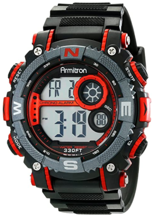 This is an image of boy's digital chronograph watch in black and red colors