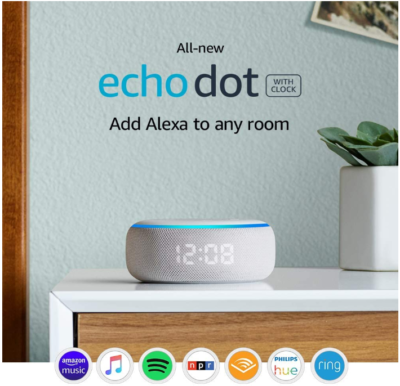 This is an image of boy's smart speaker with clock and alexa in white color