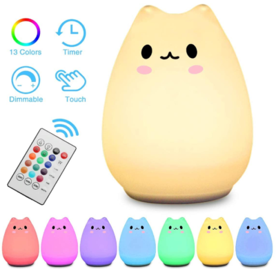 This is an image of girl's silicone cat lamp with remote control in varicolors