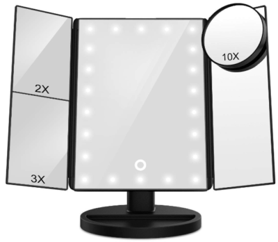This is an image of girl's vanity mirror with lights in black color
