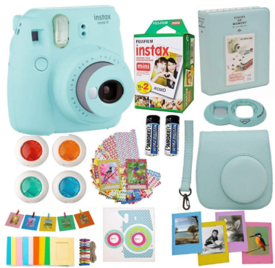 This is an image of girl's fijifilm instant camera pack in Aquamarine blue color