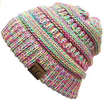 This is an image of girl's warm slouchy beanie in colorful colors