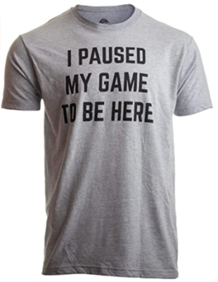 This is an image of girl's video game humer joke T shirt in gray color
