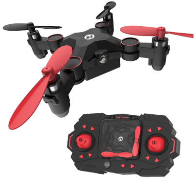 This is an image of girl's mini remote control drone in black and red colors