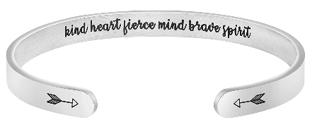 This is an image of girl's bracelets with personalized quote in silver color