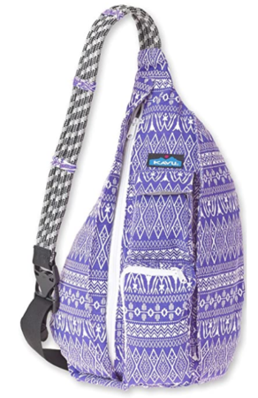 This is an image of girl's bag cotton shoulder backpack in purple color