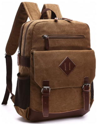 This is an image of boy's large vintage backpack in brown color
