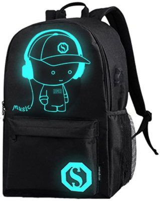 This is an image of boy's laptop backpack with LED in black color