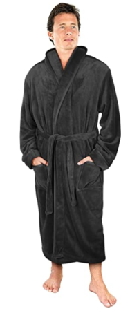 This is an image of boy's Shawl bathrobe in black color