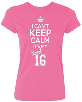 This is an image of girl's it's my birthday womens t shirt in pink color