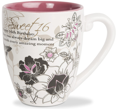 This is an image of girl's sweet 16 coffe mug with 20 OZ, Colorful colors