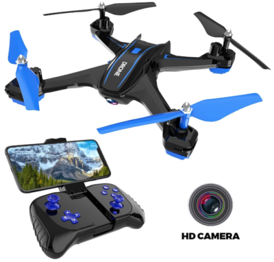 This is an image of boy's Remote control drone in HD. Blue and black colors