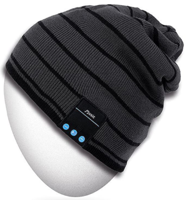 This is an image of boy's bluetooth beanie hat in black and gray colors