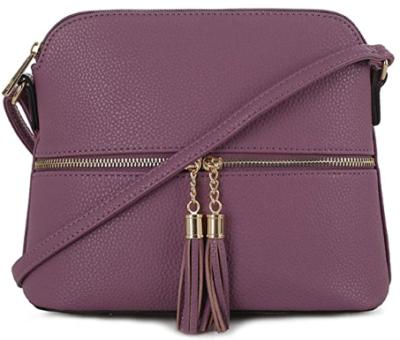 This is an image of girl's Lightweight medium crossbody bag in purple color