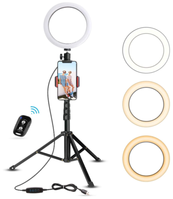 This is an image of girl's light ring tripod for phone