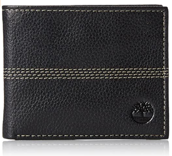 This is an image of boy's Timberland leather wallet in black color