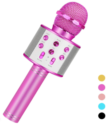 This is an image of girl's karaoke microphone in pink color