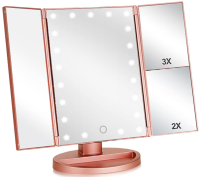 This is an image of girl's pink makeup mirror
