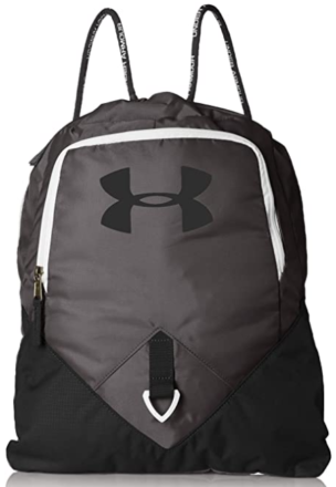 This is an image of boy's armour sackpack in black and white colors