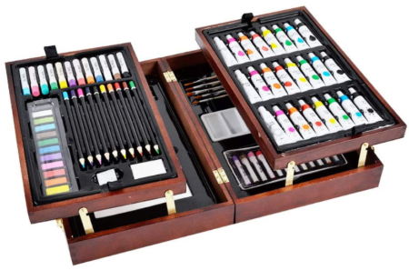 This is an image of girl's deluxe art set in wooden case