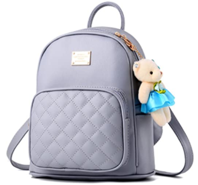 This is an image of girl's leather shopping casual backpack in purple color