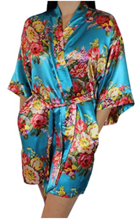 This is an image of girl's floral short kimono in colorful colors