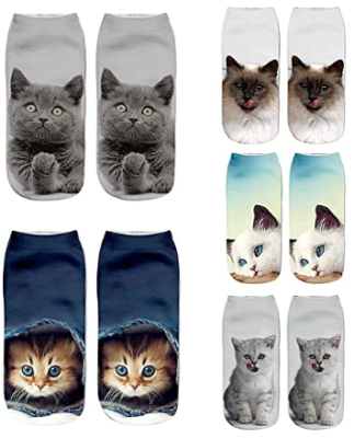 This is an image of girl's 3D colorful socks pack with cat pictures in vari colors