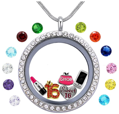 This is an image of girl's gift sweet sixteen necklace