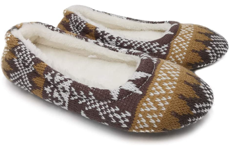 This is an image of girl's soft slippers in brown color