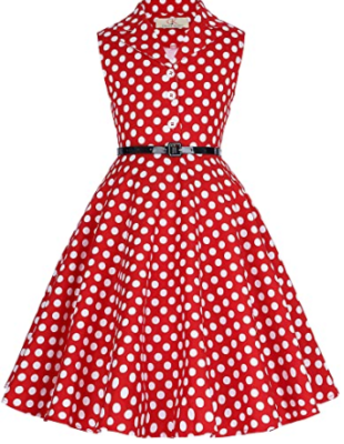 This is an image of girl's retro floral dresse with belt in white and red colors