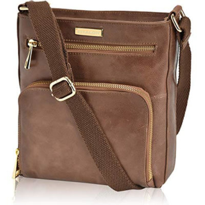 This is an image of girl's Vintage Crossbody bag. Brown color