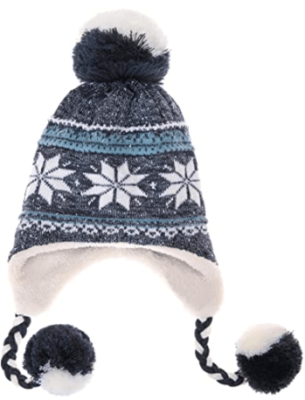 This is an image of girl's hat earflap with coloful graphics.