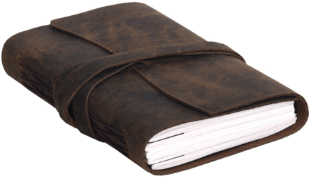 This is an image of girl's handmade leather journal notebook. Brown color