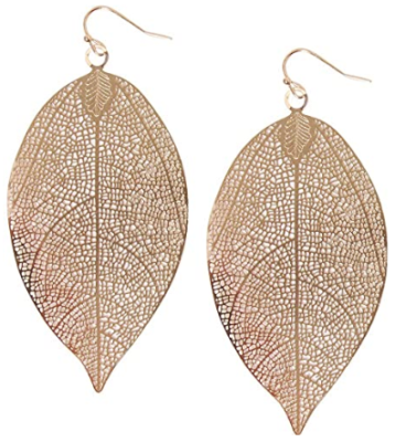 This is an image of girl's leaf earrings. Golden color