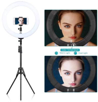 This is an image of girl's Ring light With LED. White color