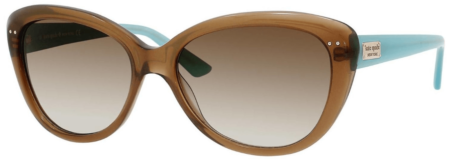 This is an image of girl's Cat ey sunglasses by Kate Spade. Brown and turquoise Colors