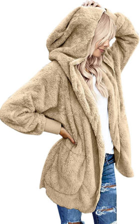 This is an image of girl's oversized hooded coat