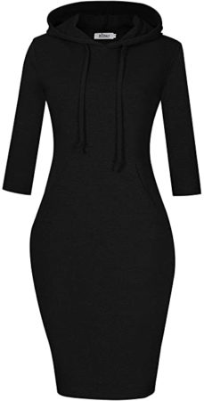 This is an image of girl's women stripes length hoodie dress. Black color