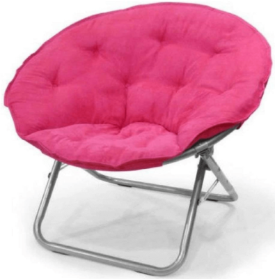 This is an image of girl's faux saucer chair. pink color