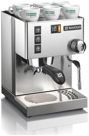 This is an image of Espresso machine with stainless steel and panels. Silver Color