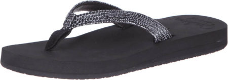 This is an image of girl's reef womens flip flop. Black color
