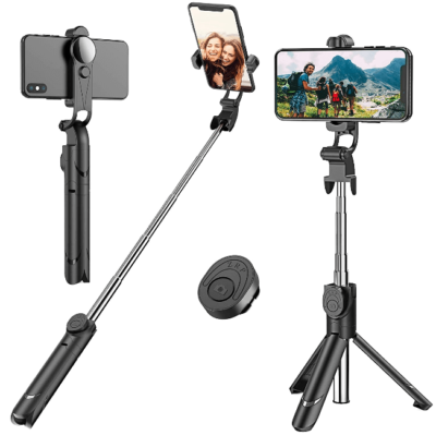 This is an image of girl's selfie stick tripod with wireless and remote.