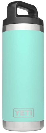 This is an image of girl's Rambler bottle 18 OZ by Yeti. Turquoise and silver colors